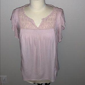 Knox and Rose blush pink crochet blouse sz M